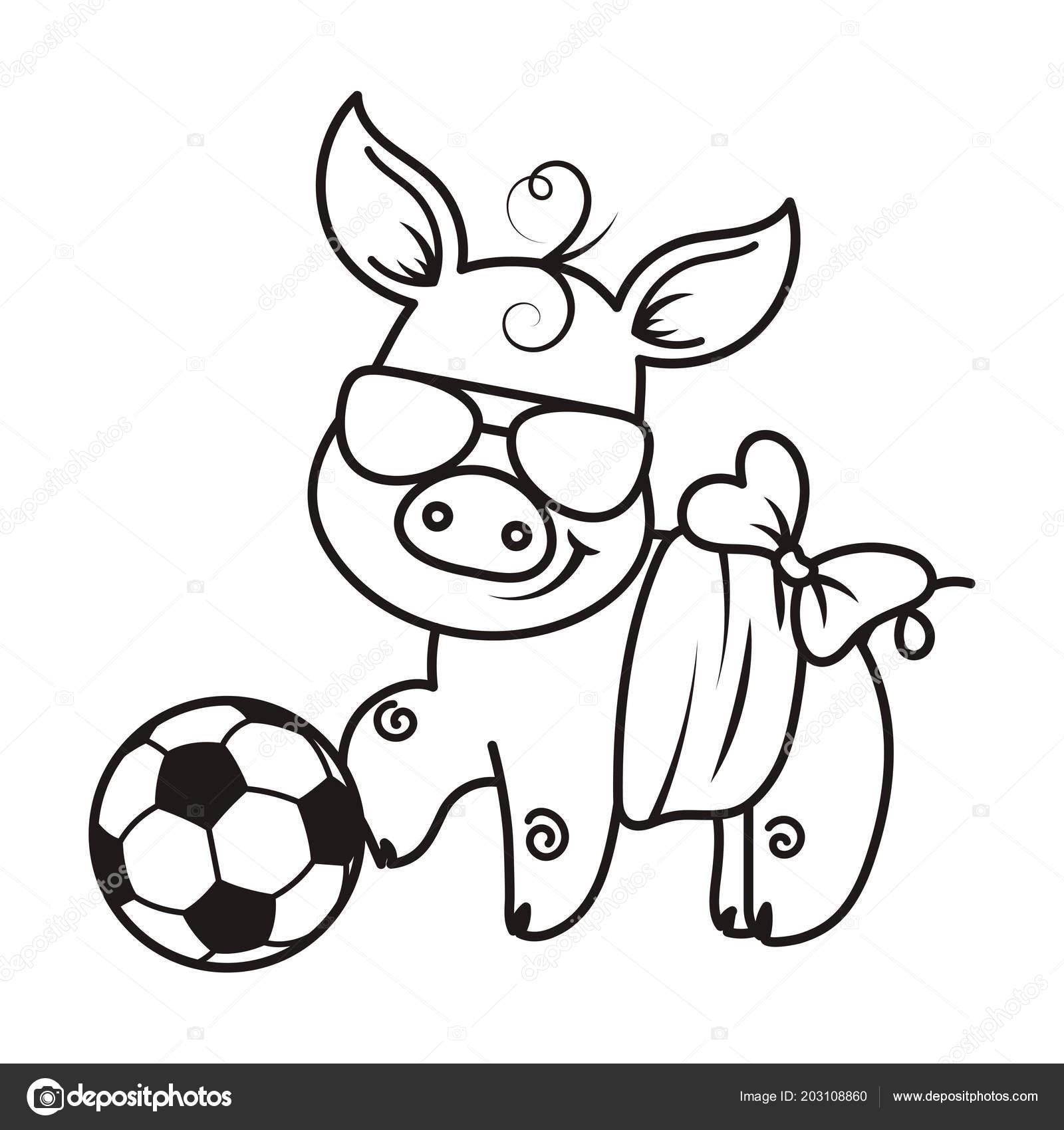 Bir Futbol Topu Ile Sevimli çizgi Domuz Vektör çizim Stok Vektör