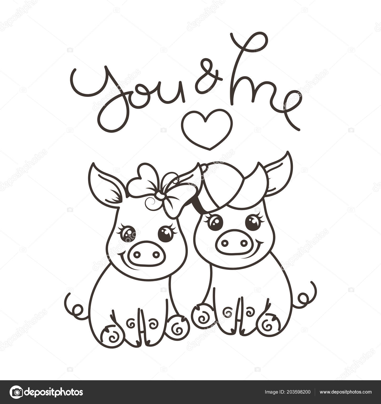 Cerdos Del Bebé Cute Dibujos Animados De Amor Vector De Stock