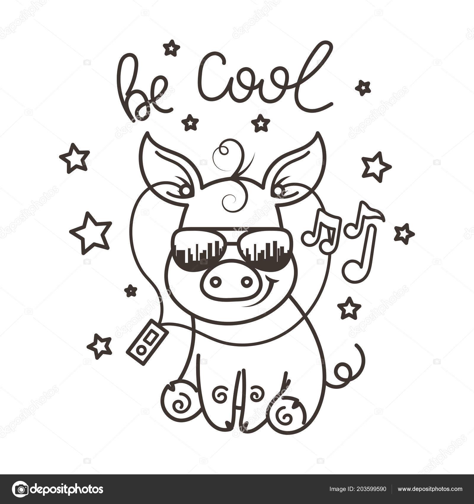 Kleurplaten Zonnebril.Schattige Cartoon Baby Varken In Een Coole Zonnebril Stockvector