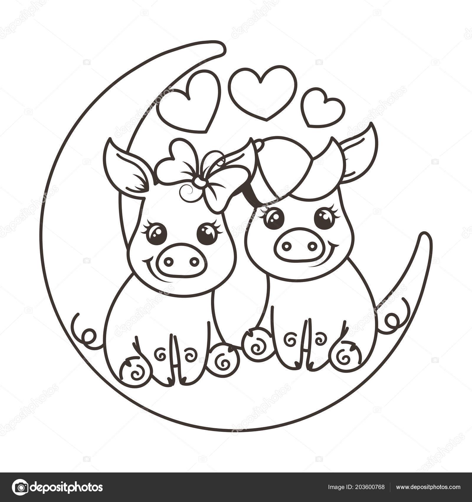 Cerdos Del Bebé Cute Dibujos Animados En El Amor En Una Luna