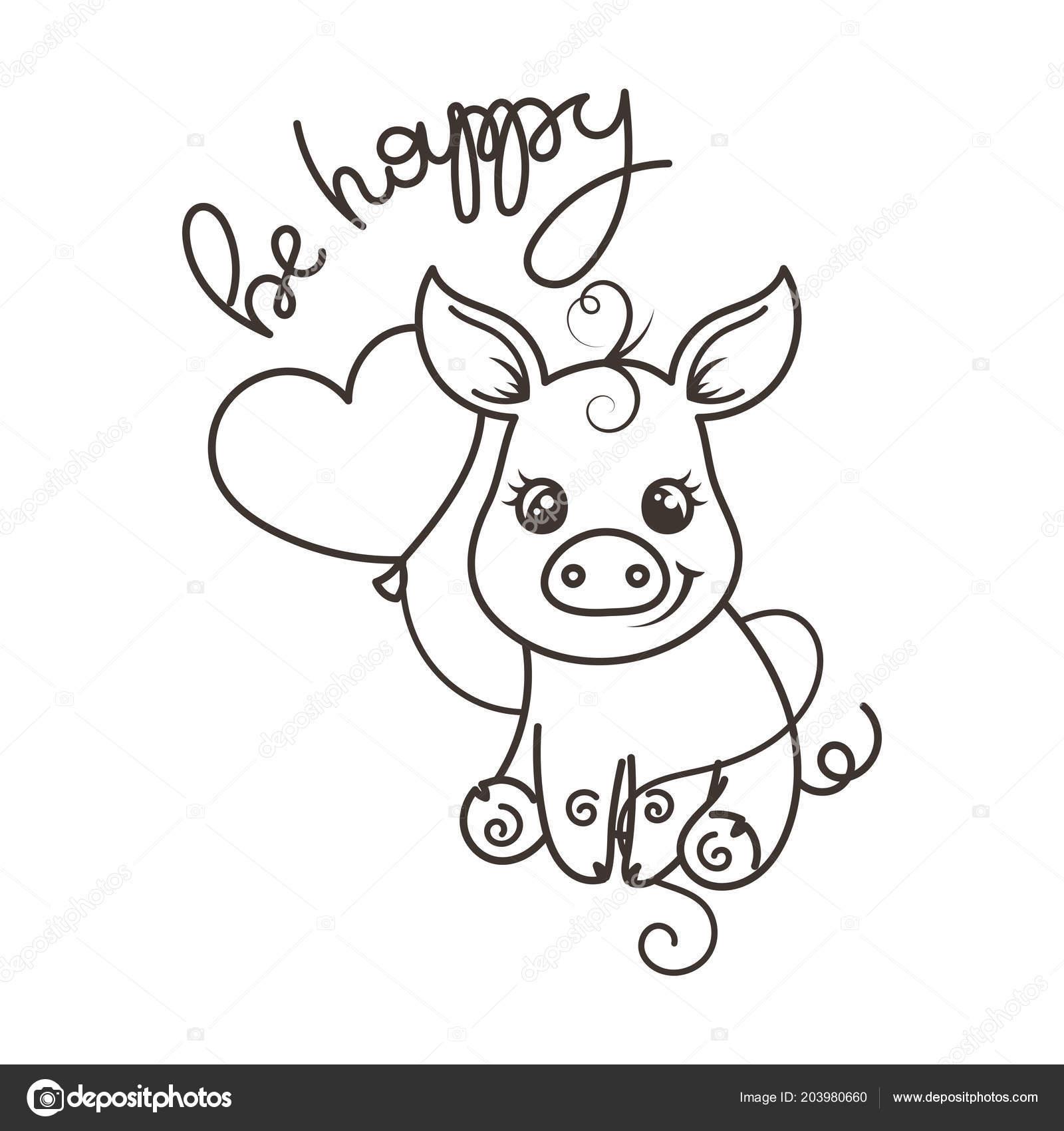 Cerdo De Dibujos Animados Lindo Bebé En Unas Gafas De Arco Iris Cool