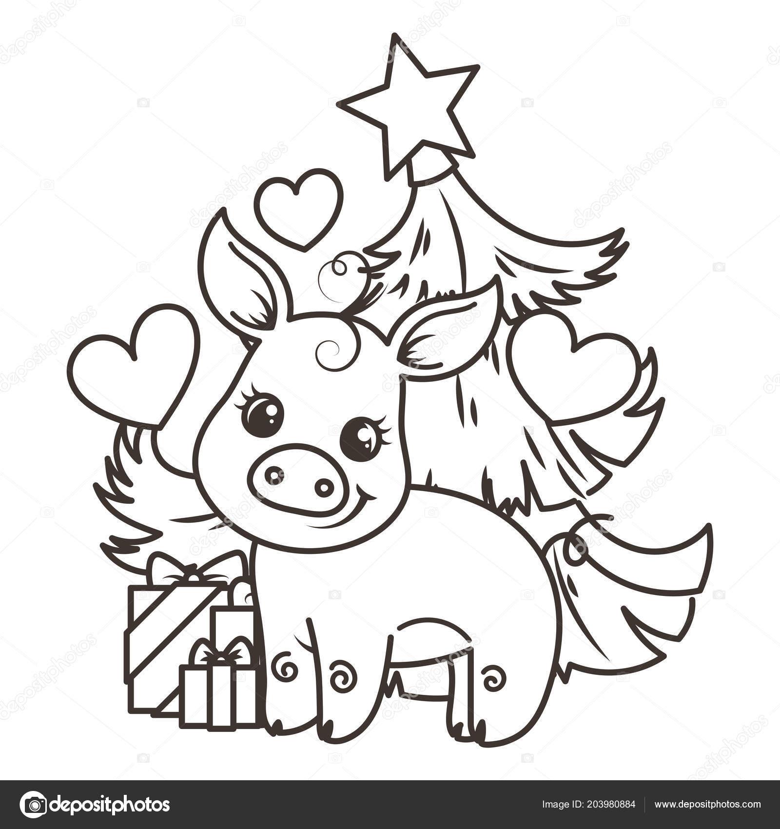 çizgi Film Bebek Domuz Ile Mutlu 2019 Yılbaşı Kartı Tatil Küçük