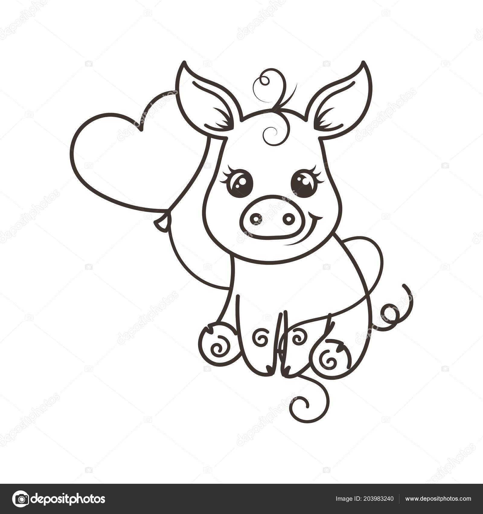 Cerdo de dibujos animados lindo bebé en unas gafas de arco iris cool ...