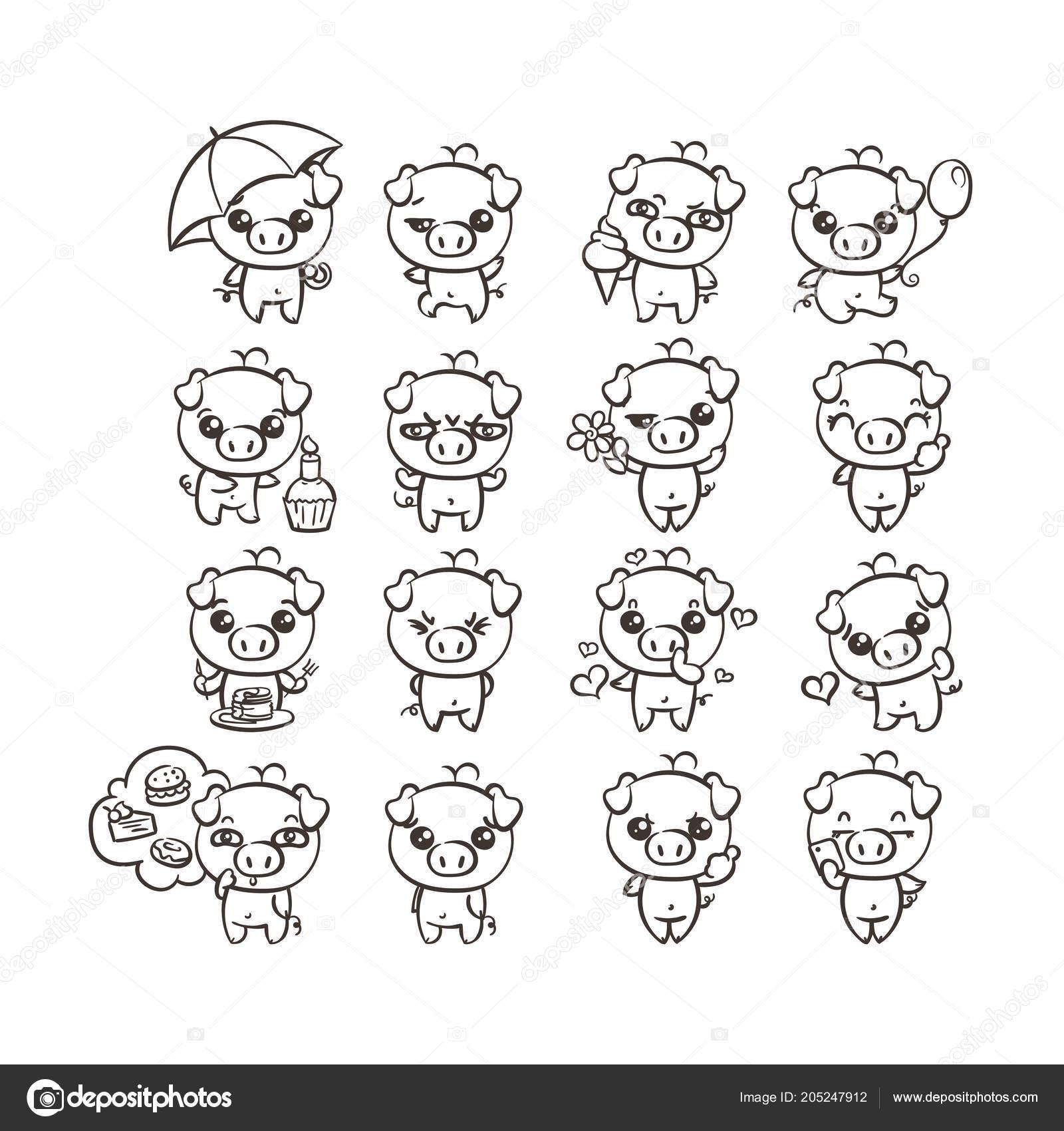 Colección de lindo icono cerdo con diferentes emociones. Ilustración ...