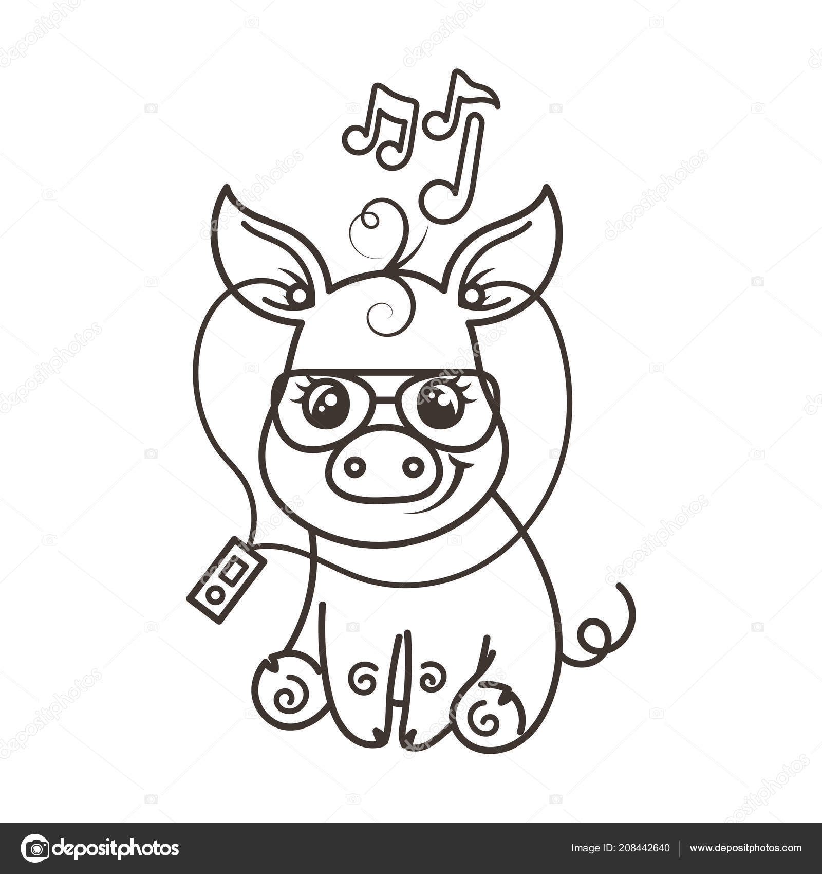 Cerdo de dibujos animados lindo bebé en una gafas de sol frescas ...