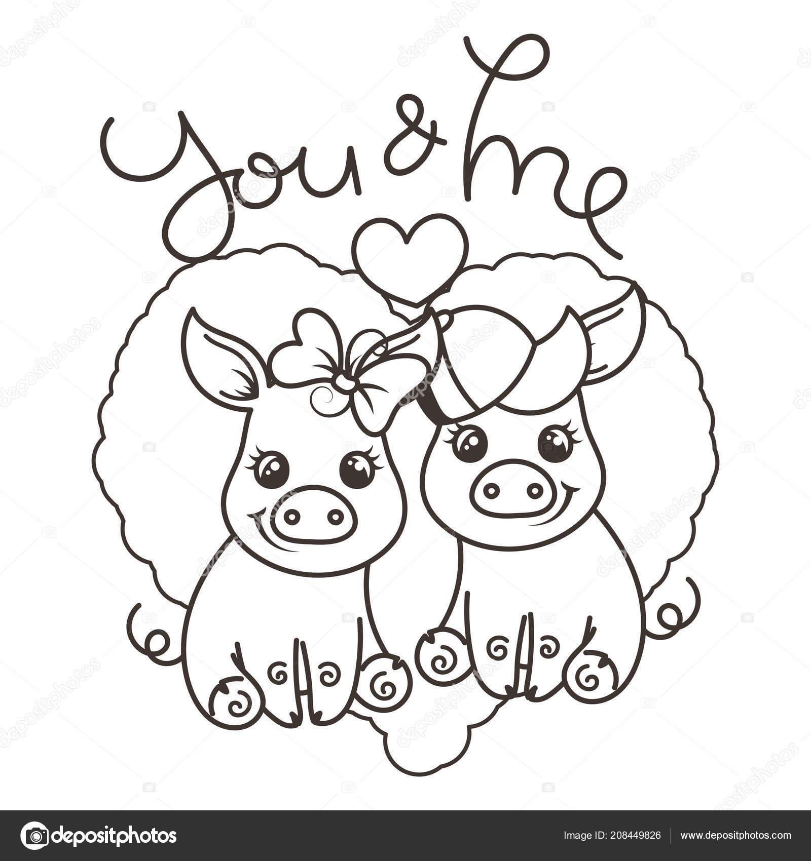 Cerdos Del Bebé Cute Dibujos Animados De Amor Vector De