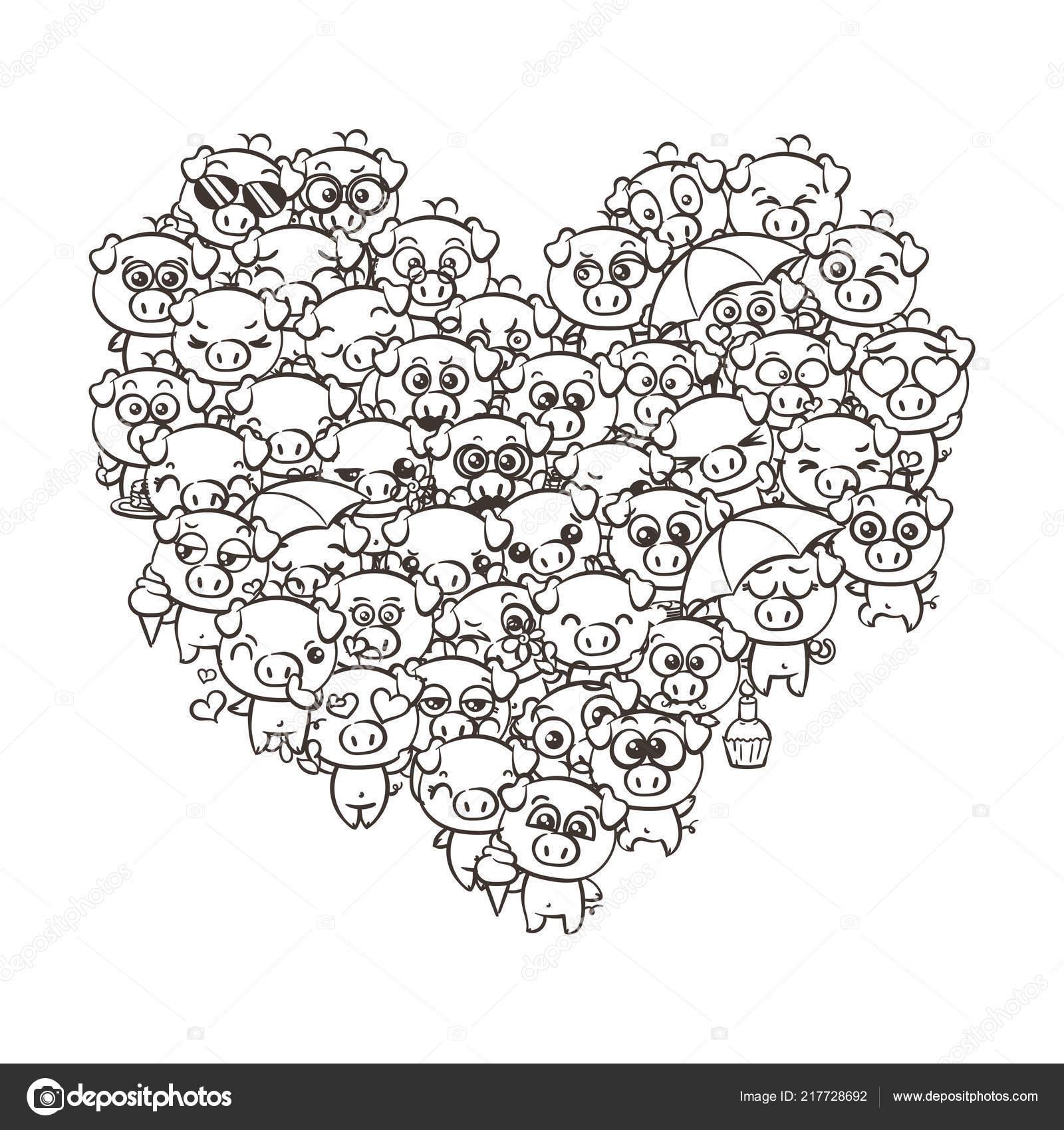Amo O Fundo Com Leitões De Bebê Fofo Porcos De Kawaii De