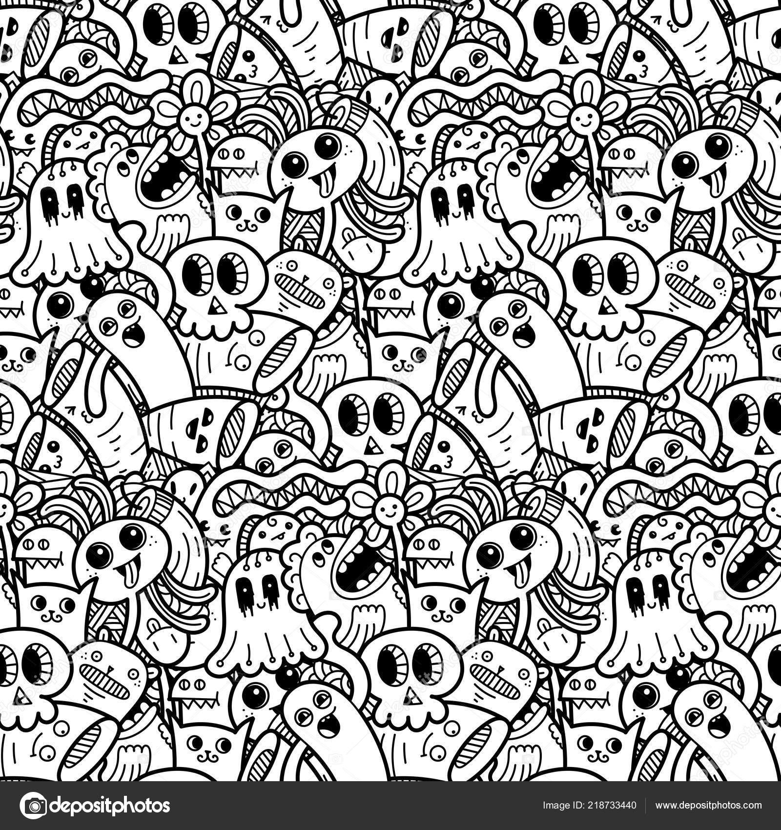 Coloriage Mandala Monstre.Drole De Doodle Motif Sans Soudure De Monstres D Estampes