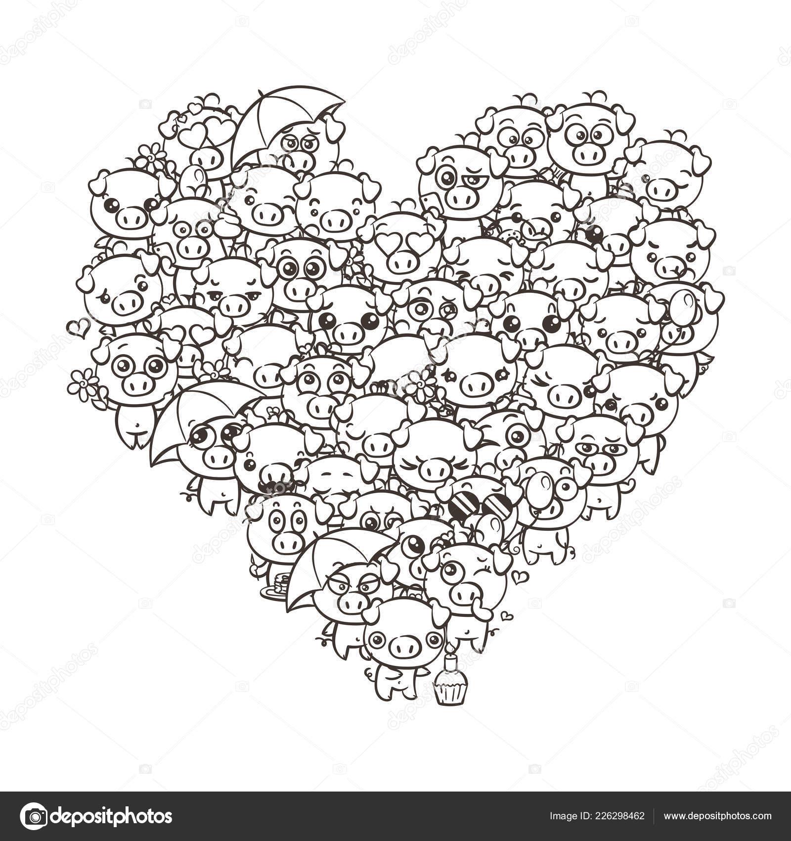 Amor Fondo Con Lechones Lindo Bebé Cerdos De Kawaii Pastel De