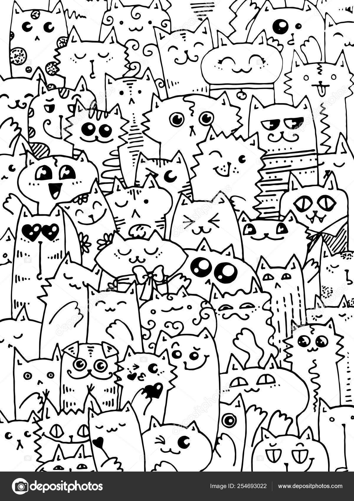 Patrón De Gatos Doodle Kawaii Lindo Fondo Animal Ideal Para
