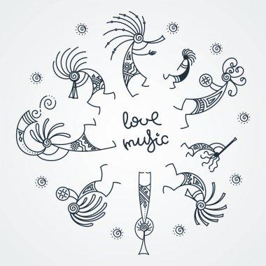 Hand drawn Kokopelli circle. Stylized mythical characters playing flutes.