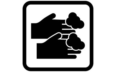 Icon illustration of washing hands with soap icon