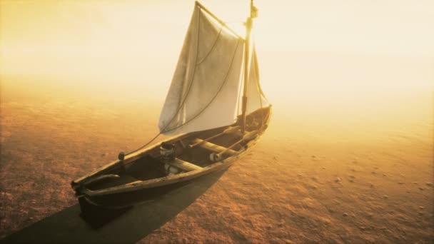 Rybaření nebo rybářský člun opuštěný v poušti