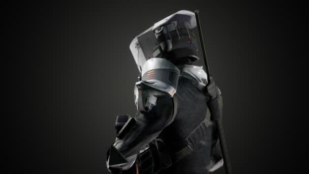 Futuristischer Soldat in Stahlrüstung mit der Cyber-Punk-Waffe
