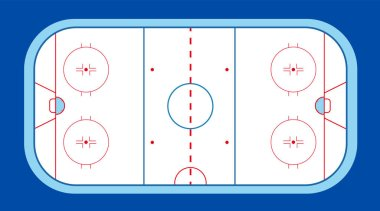 Ice hockey field with puck and stick