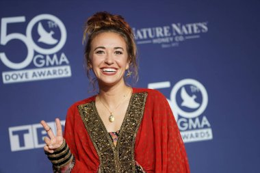 Singer Lauren Daigle Walk the Red Carpet at the 50th GMA Dove Awards at Linbscome University in Nashville, Tennessee on October 15, 2019.  Photo Credit:  Marty Jean-Louis