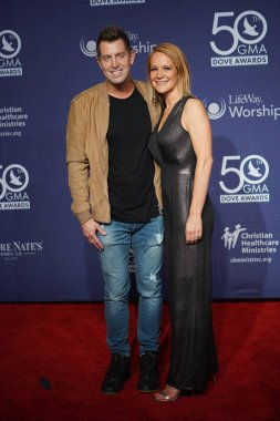 Singer Jeremy Camp and his wife Walk the Red Carpet at the 50th GMA Dove Awards at Linbscome University in Nashville, Tennessee on October 15, 2019.  Photo Credit:  Marty Jean-Louis
