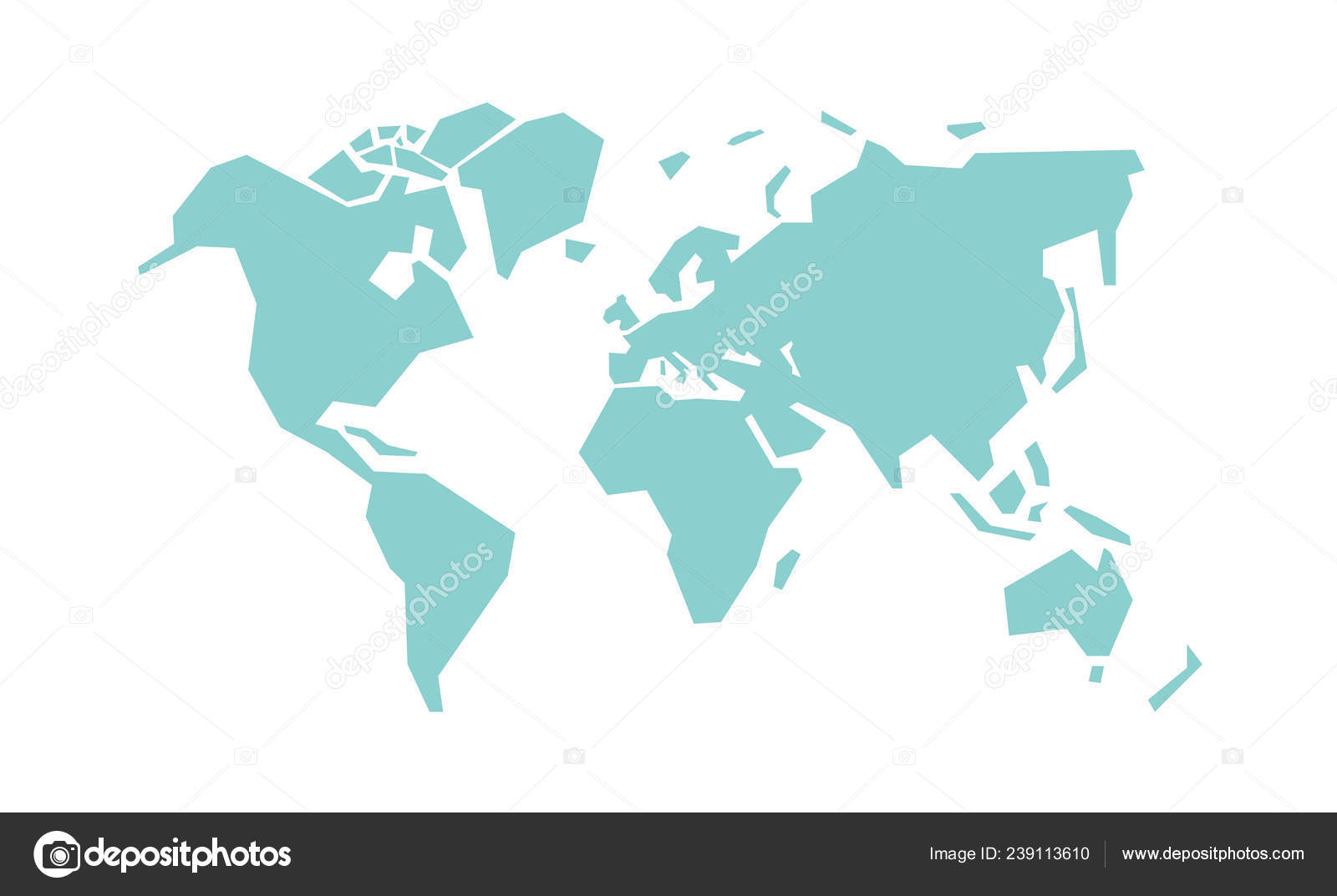 Simplified World Map Stylized Vector Illustration — Stock ... on blue world map vector, simple world map vector, black white world map vector, detailed world map vector,