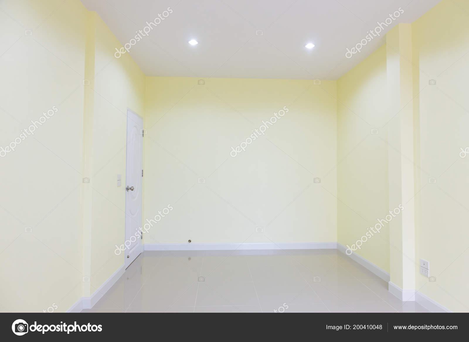 Fond Intérieur Vide Chambre Mur Jaune Couleur Porte Blanche ...