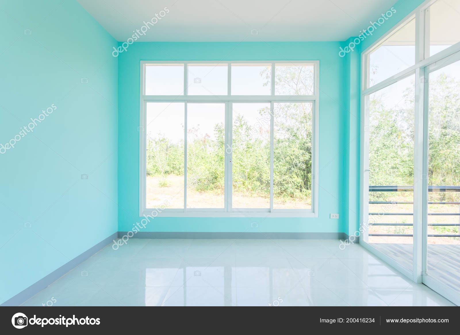 Construction Maison Vide Chambre Bleu Couleur Blanc Intérieur Fenêtre  Aluminium U2014 Photo