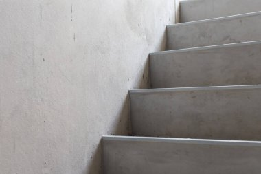 Construction of concrete stairs under construction works.