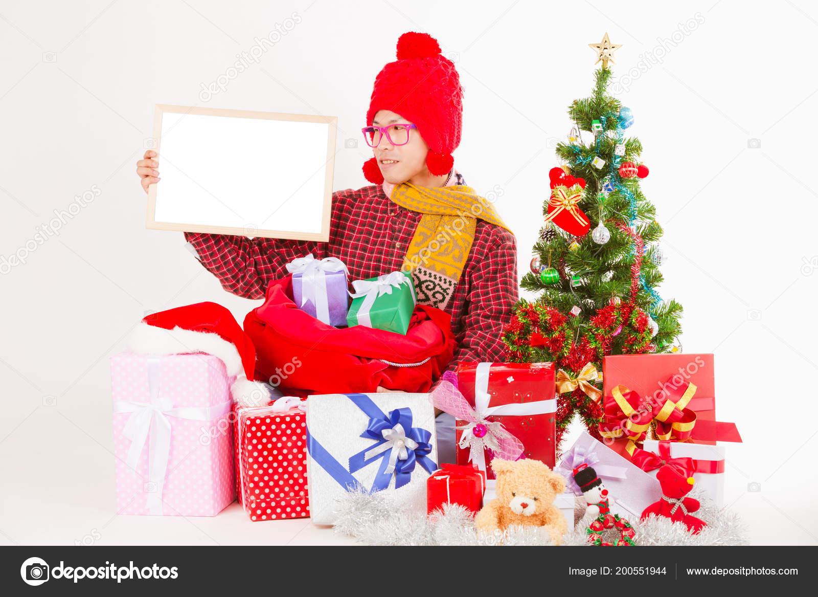Frohe Weihnachten Männer Bilder.Frohe Weihnachten Männer Weißen Leere Schild Zeigt Isoliert Auf