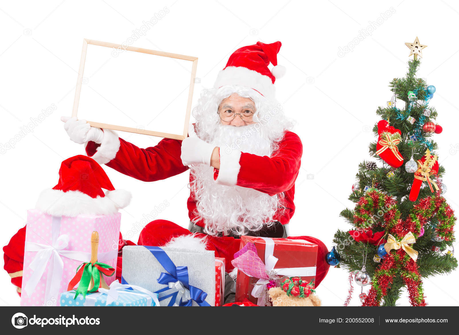 Merry Christmas Santa Claus Pointing White Blank Sign Isolated White ...