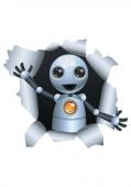 ilustrace šťastný droid malého robota na objevuje zdi izolovány bílé pozadí