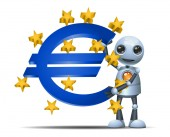 illustration of a happy droid little robot hold euro symbol on isolated white background