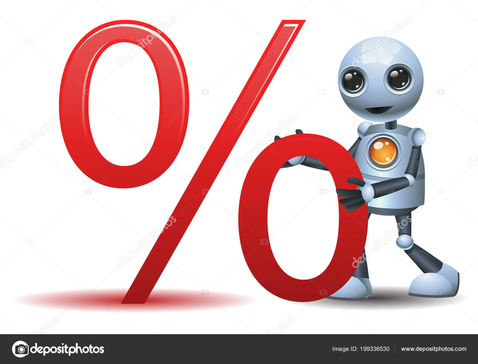 Illustration Happy Droid Little Robot Hold Percent Symbol Isolated