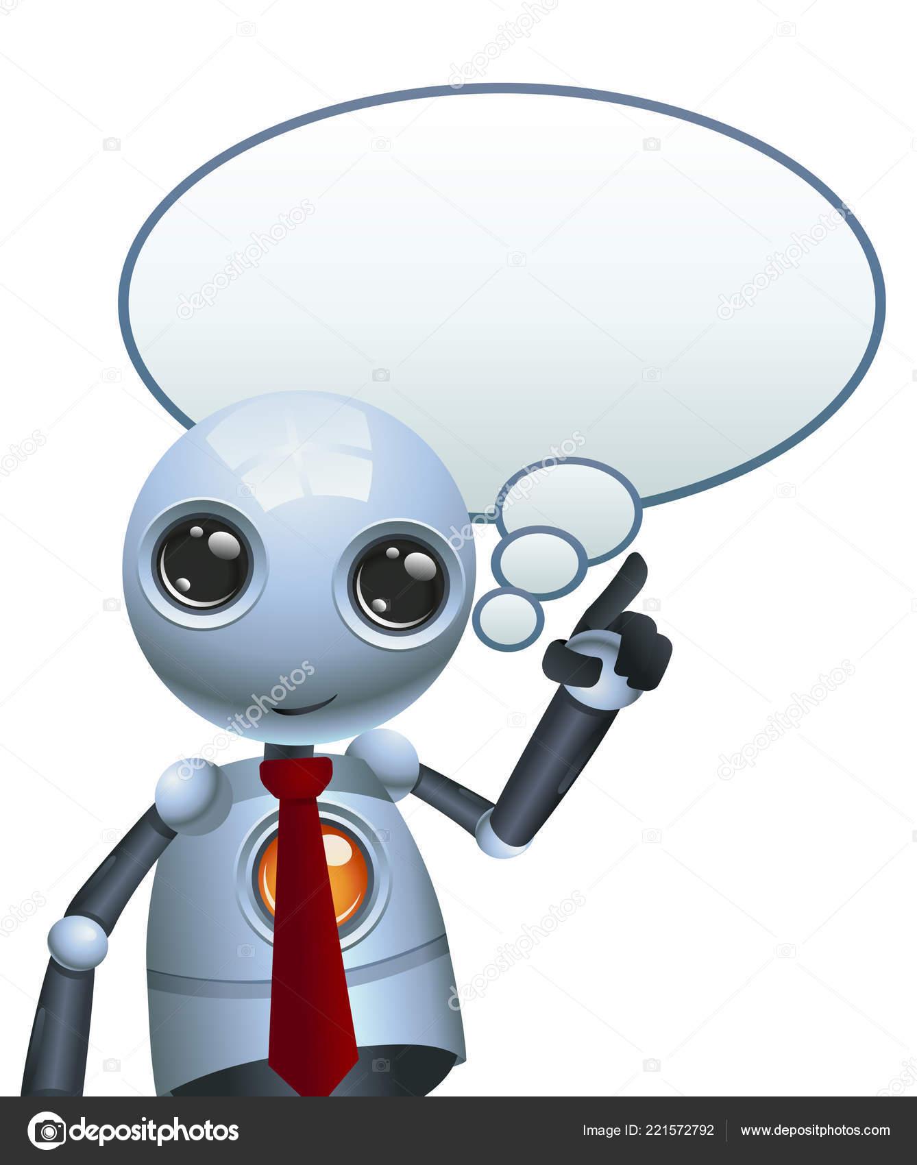Ilustrace Stastny Droid Robot Kresba Myslel Bublina Izolovane Bilem