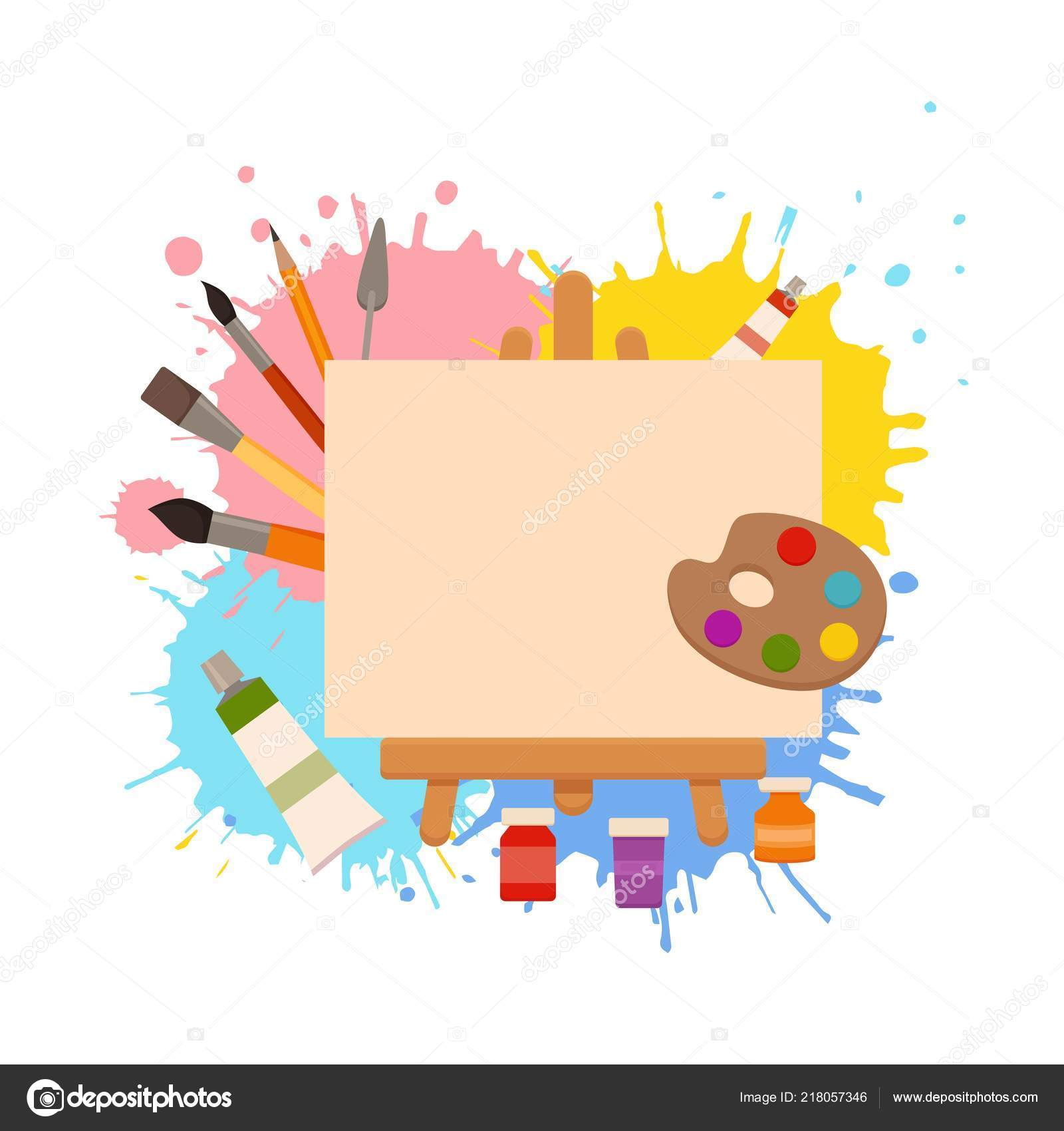Painting Tools Elements Cartoon Colorful Vector Concept Vector Image By C Oligliya Vector Stock 218057346