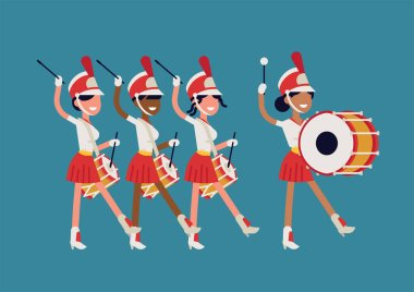 Girls marching band flat vector illustration. Abstract parade drummer girls marching along playing drums