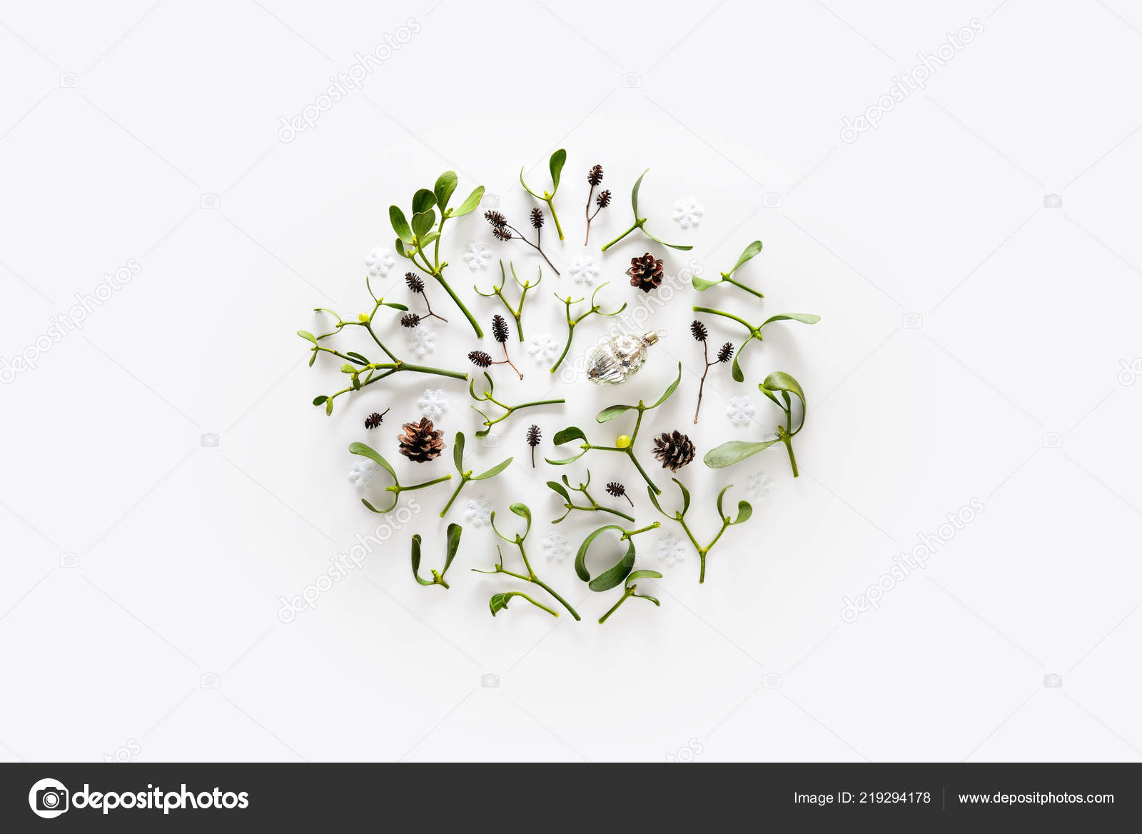 Christmas Greeting Card Template Mistletoe Small Branches Cones Decorative Composition Stock Photo Image By C Fortyforks 219294178