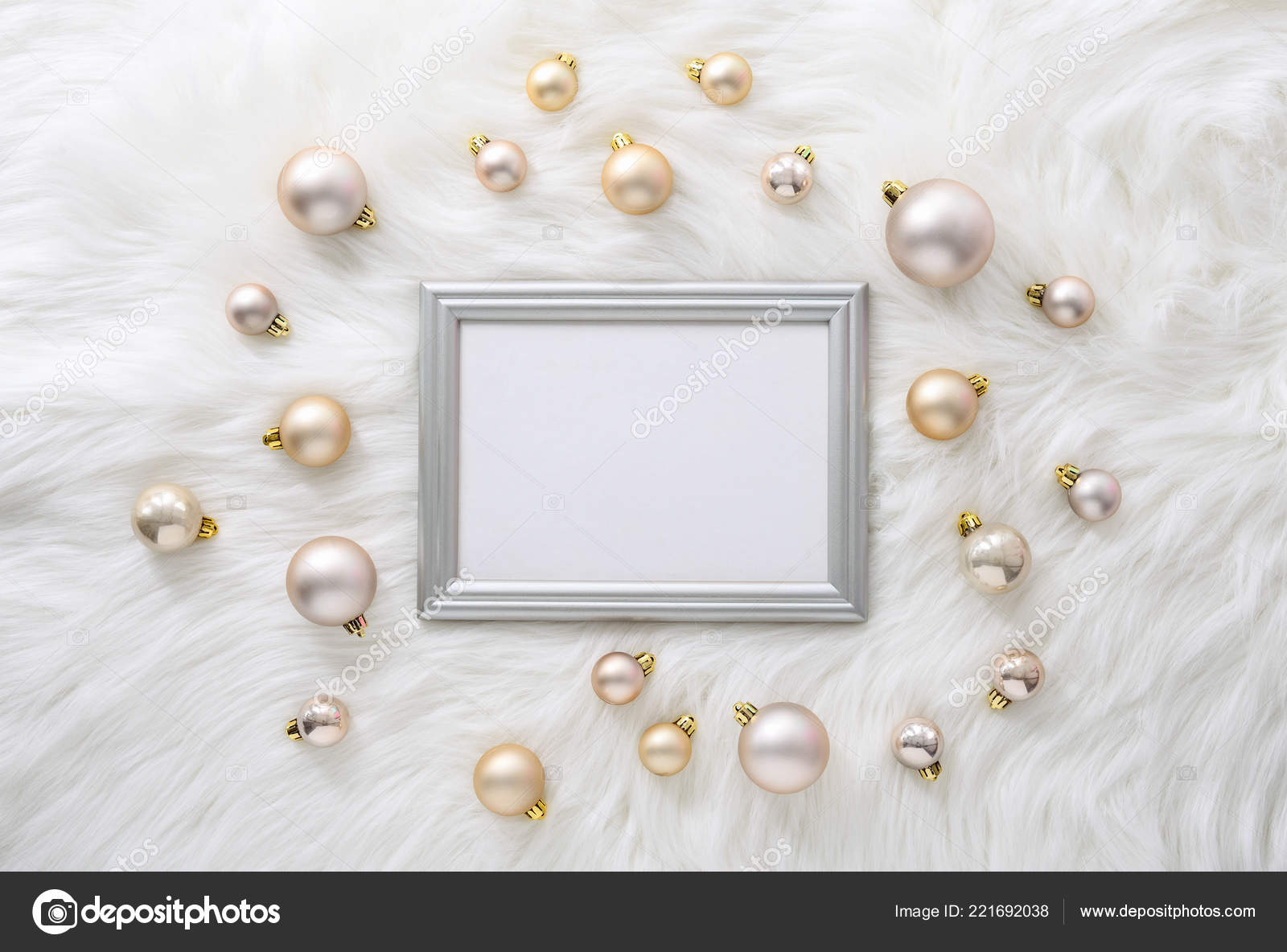 christmas new year background blank space text silver frame flat stock photo