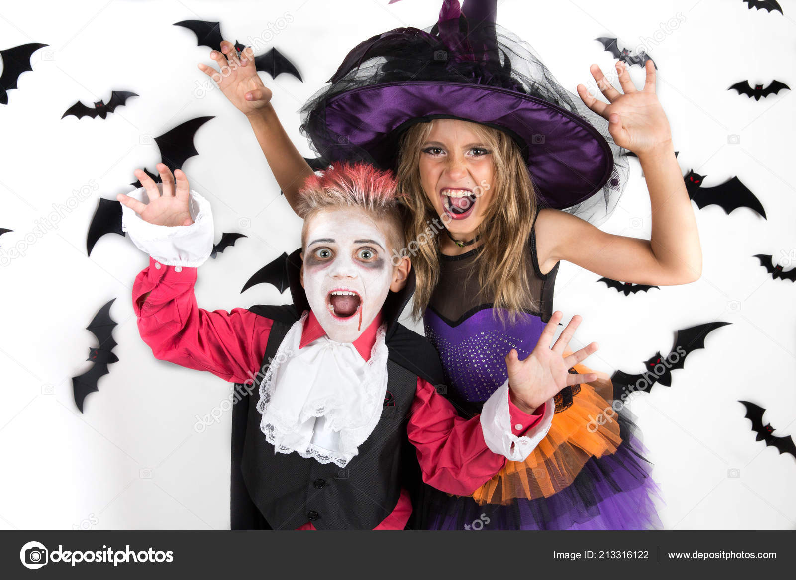 halloween kids happy scary girl boy dressed halloween costumes witch