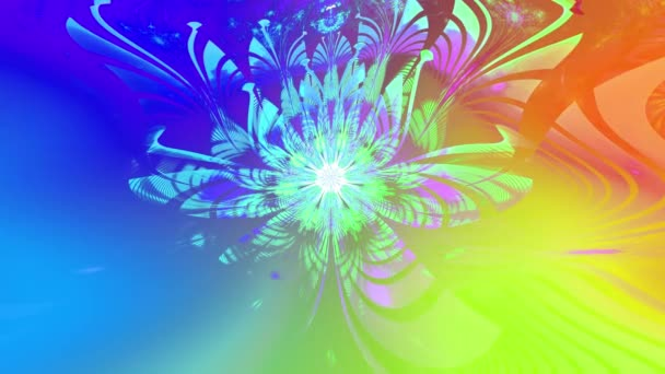 Rainbow color changing abstract fractal background with intricate interconnected psychedelic space flowers with a major large flower in the middle, all slowly moving and rippling