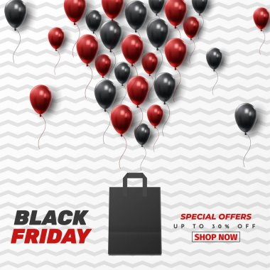 Black Friday Sale Poster with Shiny Balloons on Black and White Background. Universal vector background for poster, banners, flyers, card. vector illustration