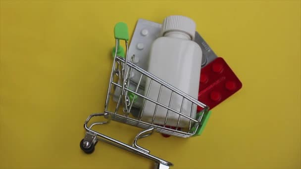 approaching the camera to the shopping cart with medicines.ordering goods and drugs online with delivery.