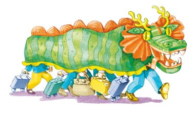 group tourists hidden in dragon Chinese happily walks conceptual illustration new type of tourism