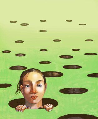 awakening from a field full of round holes it sprouts the curious face of a girl surreal acrylic illustration