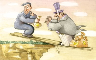 on an axle in unstable balance on the abyss the avarice of a rich toward a worker will bring both to ruinously fall, the worker it understands what it happens but he doesn't know whether to stop the thing