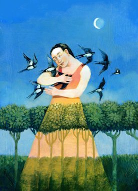 woman embraces swallows her suit  weaves him in the wood bringing the dawn in the eavening with  increasing moon