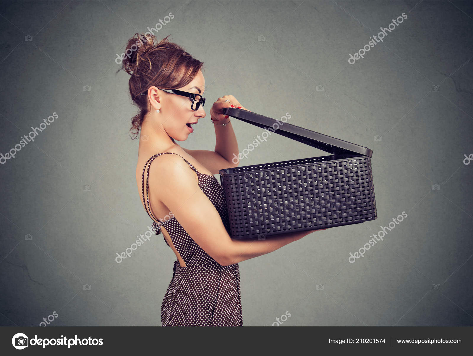 Happy Surprised Woman Opening Box Secret Looking Excited
