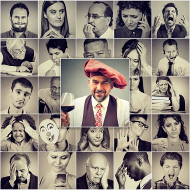 Collage of men and women in group having different negative emotions and feelings with one positive man holding glass of red wine in front