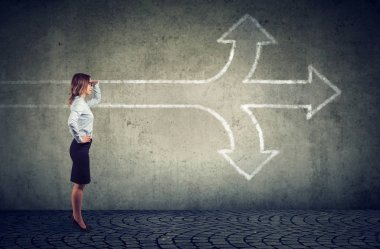 Confident businesswoman looking into the future as a crossroad arrows split in three different ways. Choosing the right way making difficult decision concept.