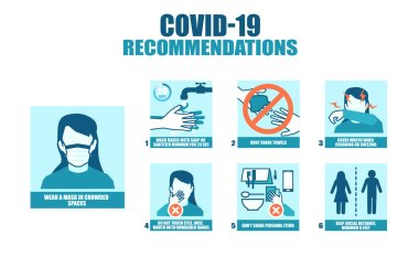 Coronavirus poster infographic with tips and recommendations on how to stop spreading disease icon