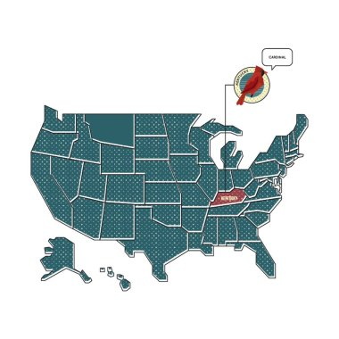 us map with kentucky state bird