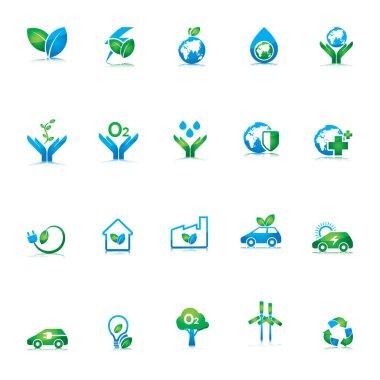 eco green ecology icons set