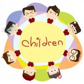 děti s výrazy, stylizovaná vektorová ilustrace